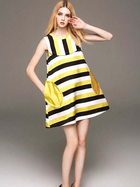 Stripe Print Mini Dress #yellow #stylewe #women