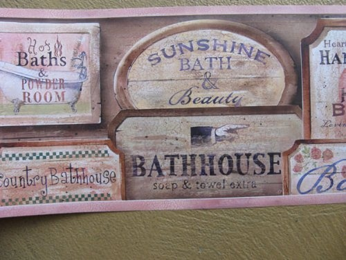 Vintage Bathroom Signs Wall Border By Brewster, Http://www.amazon.