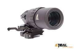 AT-M15 1.5-5x Magnifier with Flip to Side Mount. This magnifier allows you to manually adjust from 1.5 to 5x zoom to quickly and accurately acquire your target. The flip-to-side mount allows you to quickly move the magnifier out of your line of sight as needed. You won't find variable magnification on an EOTech magnifier.