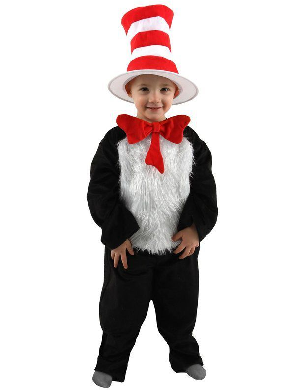 Toddler Deluxe Dr Seuss Cat In the Hat Costume Book Character - dr seuss halloween costume ideas