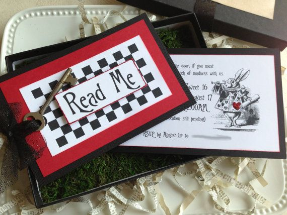 Alice in Wonderland Invitation - Wedding, Birthday - Boxed with moss, ribbon and key on Etsy, $215.00