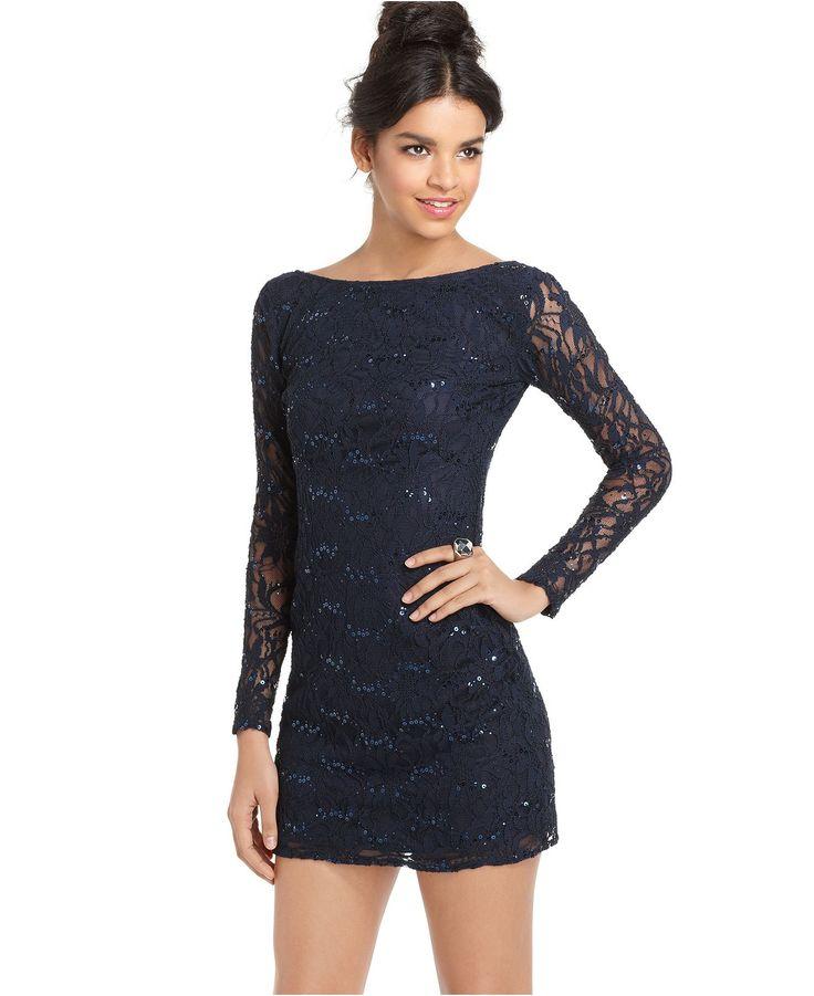 Jump Dress, Long Sleeve Lace Sequin Mini - Juniors Dresses ...
