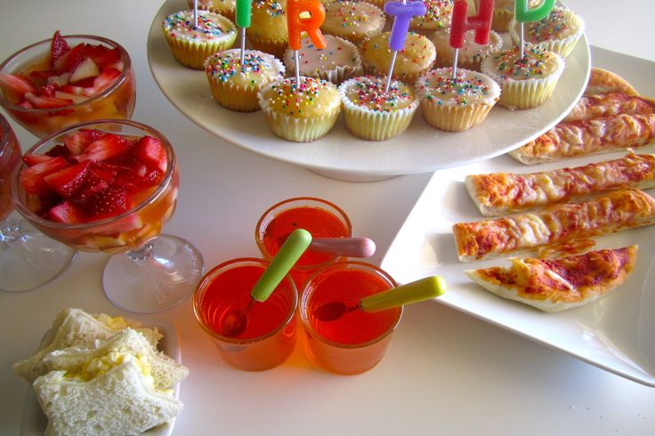 First Birthday Party Menu - fruit cocktail, pizza sticks