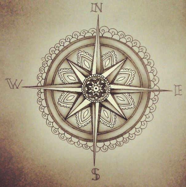 """Shine a light and guide me home - By MS """" Just a little compass/mandala because I was feeling pretty nautical and lost for a little while. It's not exactly how I wanted it to be, but I'm content. """""""