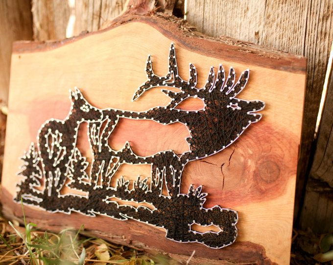 String Art - Bull and Cow Elk - Super unique string art piece! Hunter gift for sure!