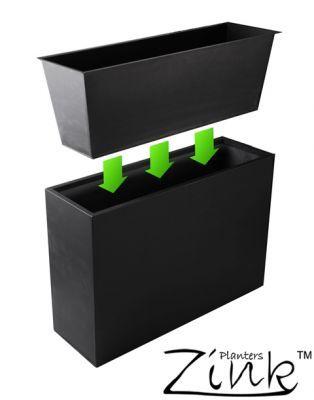 Black Zinc Tall Trough Planter - L89cm x W29cm With Insert