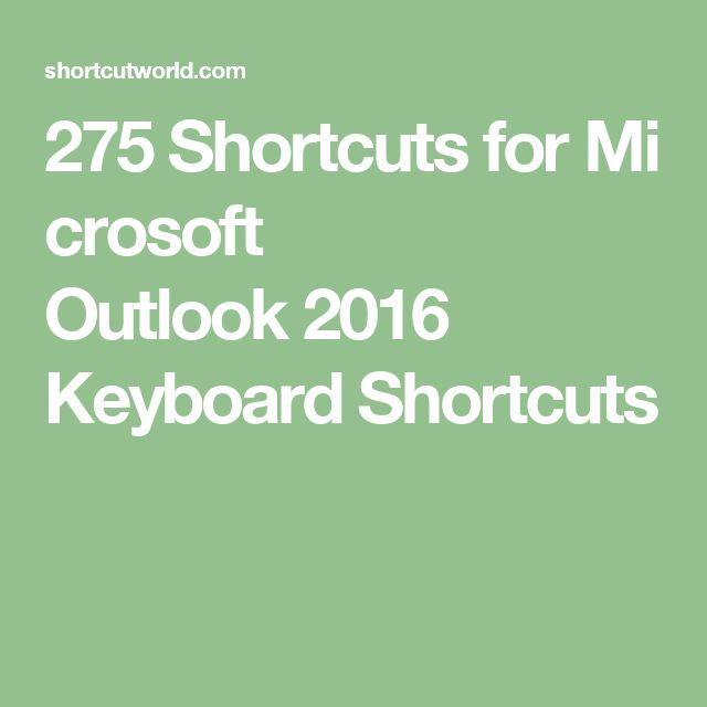 275 Shortcuts For Microsoft Outlook 2016 Keyboard Shortcuts