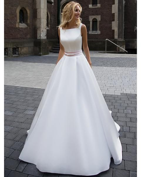 009d67857b Simple 2018 White Wedding Dresses A line Square Neckline Modest Satin  Bridal Gowns with Pockets in 2019