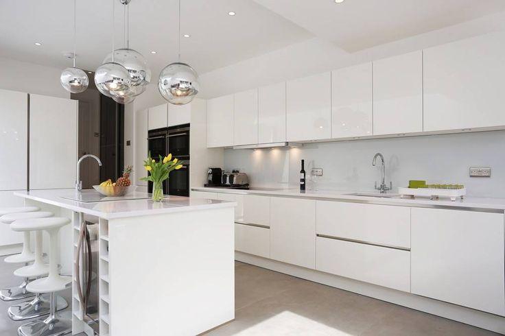 White Gloss Lacquer Kitchen Island - High gloss lacquer kitchen with island - Discover more at www.lwk-home.com