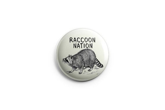 Raccoon Nation Toronto Pinback Button by PricklyCactusCollage