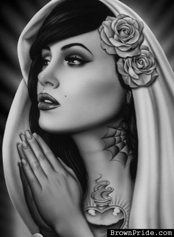 Tattooed Mary by Spider Tattoo Art Print Sexy Woman Praying Roses