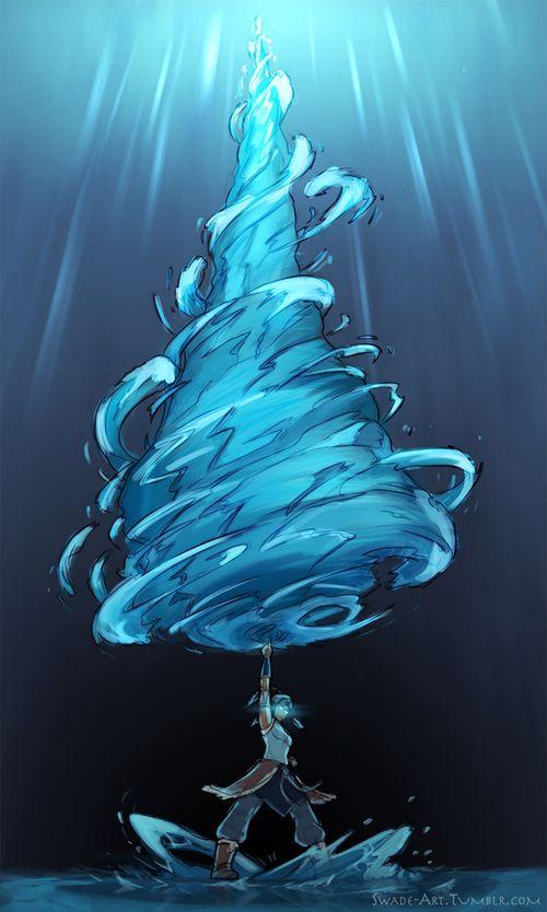Avatar state Korra...I'm loving the giant water drill...Gurren Laagan style!