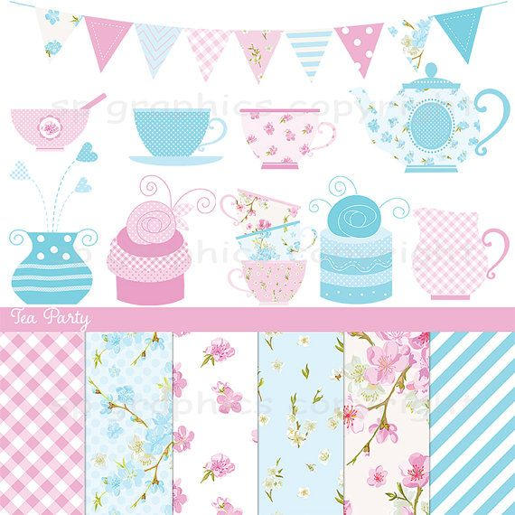 Shabby Chic Tea Party - Pink & Blue - digital clipart for cards, photography, scrapbooking, invites, general craft work