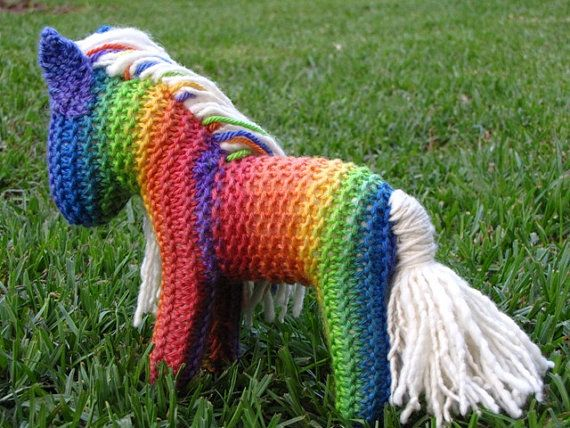 Rainbow Unicorn Knitting Pattern : Vibrant rainbow knitted horse waldorf unicorn