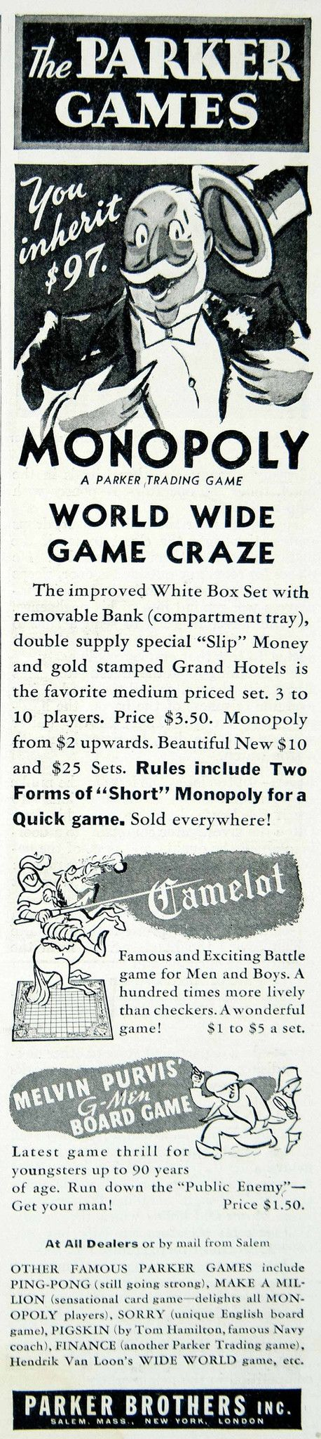 1936 Ad Parker Brothers Board Games Monopoly Camelot Melvin Purvis G-Men YLD5
