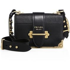 Prada Cahier Notebook Leather Shoulder Bag (€2.635) ❤️ liked on Polyvore featuring bags, handbags, shoulder bags, black, apparel & accessories, colorblock handbags, leather shoulder bag, leather handbags, color block handbags and real leather purses