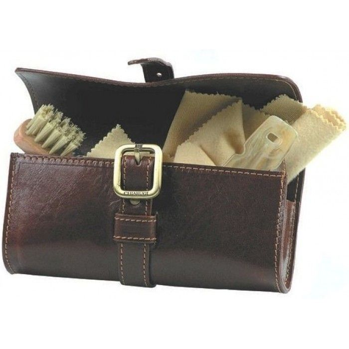 Chiarugi leather travel case for shoe care products gift item Handmade in Italy