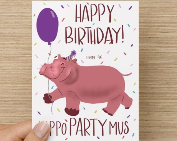 Happy Birthday Hippopotamus Card Silly Birthday Card Hippo Card Cute Card Card For Kids Birthday Card Cute Cute Birthday Cards Cute Cards Cards Handmade