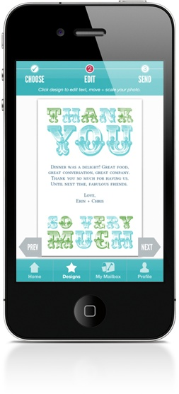 Red Stamp app -- I downloaded it and it is so cool! Send stylish, personalized notes effortlessly from your iphone. FREE.