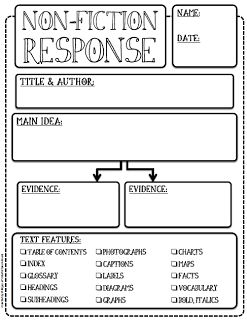This nonfiction response is great for students to begin to recognize the features of nonfiction pieces of writing.  They can see what nonfiction writing has in common and pick out the main idea and supporting evidence.  This worksheet would also be good for students to summarize and use again to reference the piece of work they read.