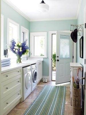 Ah, niiiiice laundry room! - Not gonna happen. Love the paint color for our basement remodel though... hmmm...