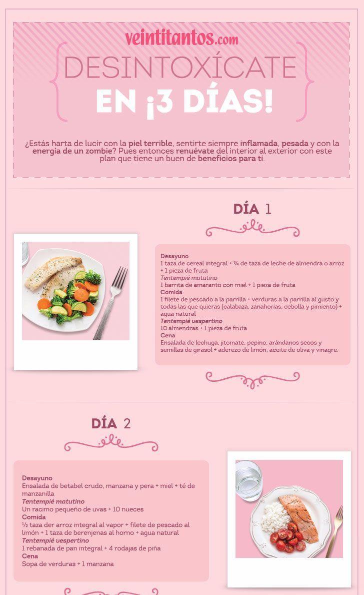 Dieta desintoxicante en 3 días. Infografía con recetas.