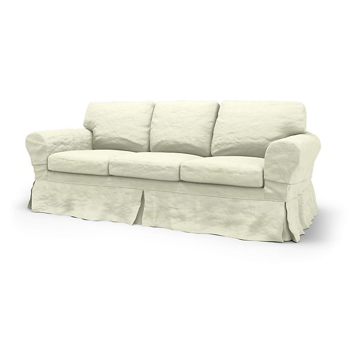 Ektorp, Sofa Covers, 3 Seater Sofa Bed, Loose Fit Country using the fabric Rosendal Pure Washed Linen Soft White
