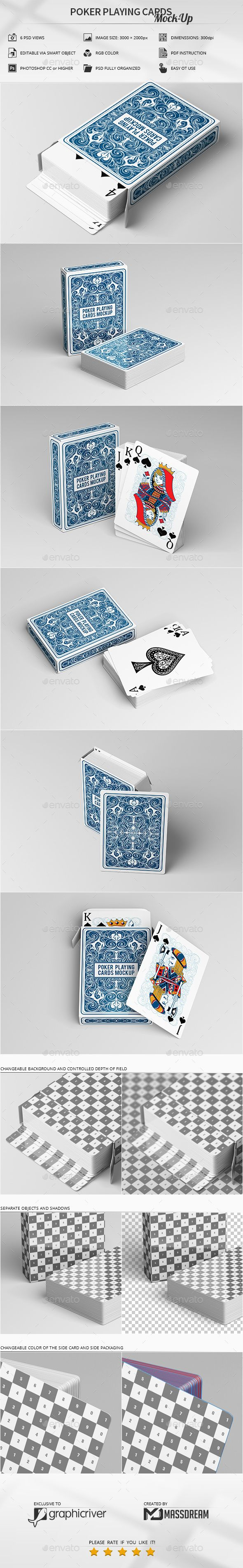 Poker Playing Cards MockUp. Professional shoe box mockup