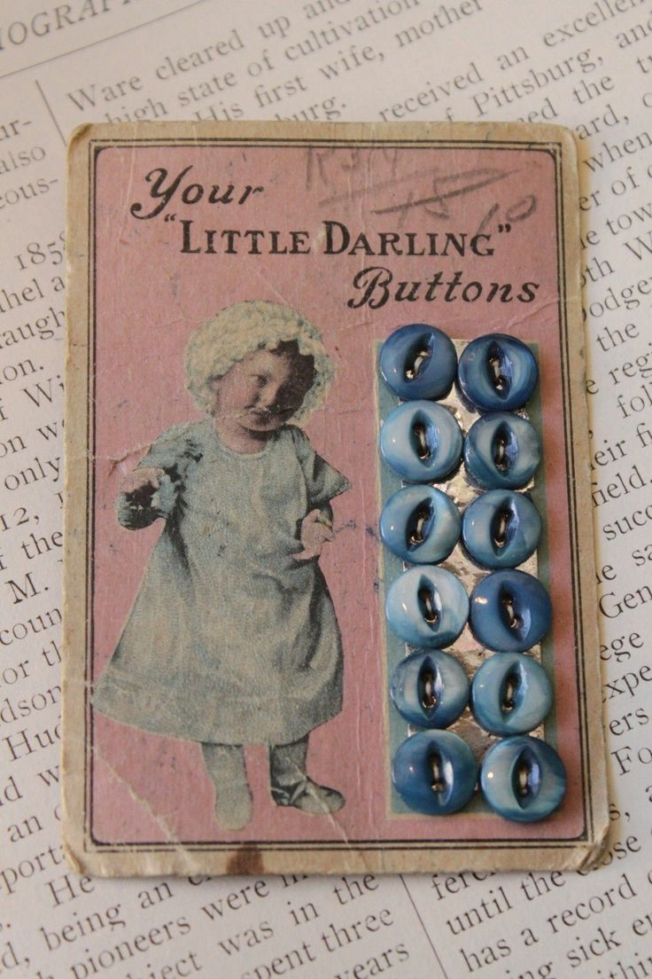 ButtonArtMuseum.com - Antique Old Button Card Your Little Darling Buttons Blue…