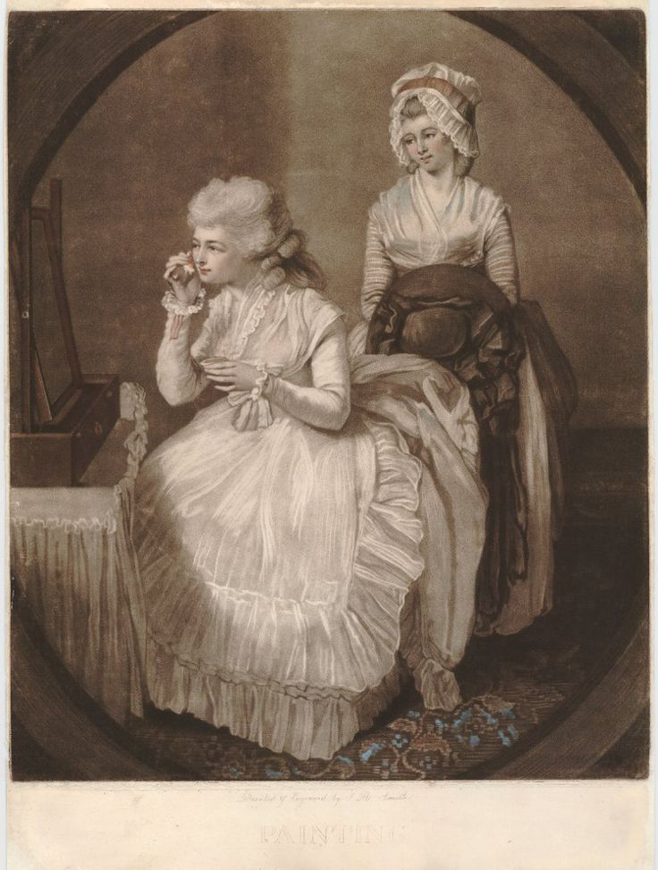1783 Museum number  2010,7081.3841  Description  Recto  A fashionably-dressed young woman sitting in front of a mirror, applying rouge, while her maid stands behind her to right holding her hat; in an oval frame; scratched open-letter state. 1783 Hand-coloured mezzotint  © The Trustees of the British Museum