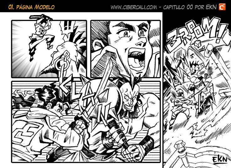 EL DISCIPULO Viñeta Comic de Yugga vs Katsumo (Peleando) por EKN | EKN: Mis Dibujos de Anime Manga
