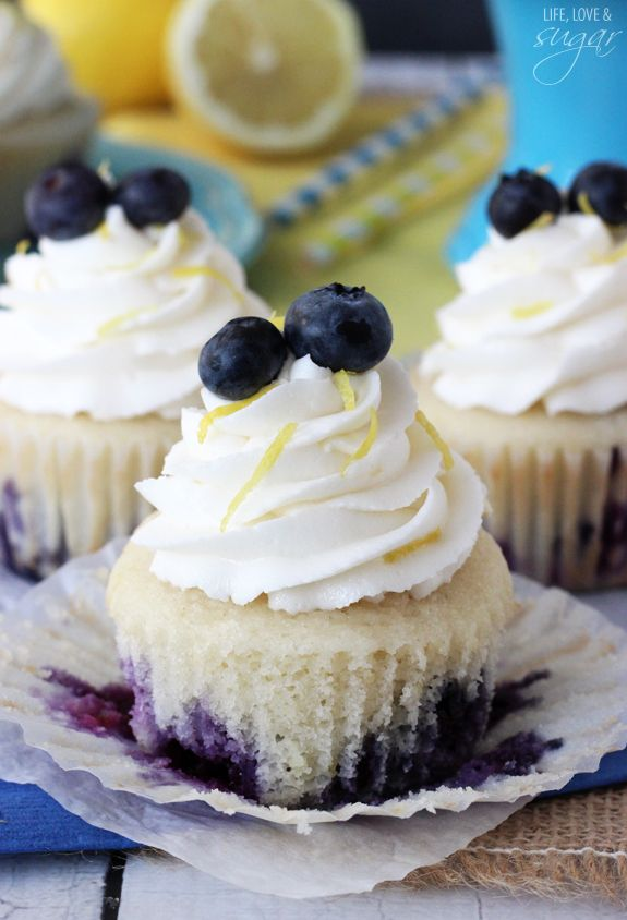 Lemon Blueberry Cupcakes - so moist and easy to make!