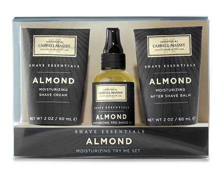 CASWELL MASSEY SHAVE ESSENTIALS - TRY ME SET ALMOND Caswell-Massey Almond Try Me Set contains moisturising Pre-Shave Oil to prepare the face and beard, Shave Cream to protect during shave, and After-Shave Balm to soothe and comfort skin. Almond Oil, plant extracts and other botanicals deliver real skincare benefits.   Paraben Free, Sulfate Free, Phthalate Free. Not tested on animals.  Includes: Pre-Shave Oil, Shave Cream Tube, After Shave Balm - 59ml  Made in America.