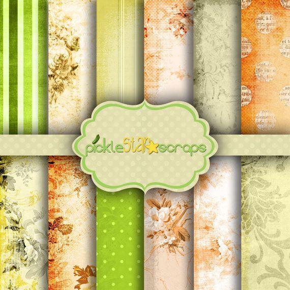 Florica Digital Papers Scrapbook Papers by PickleStarScraps