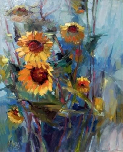"""""""Twin Blooms- sunflowers in blue shadows"""" - Original Fine Art for Sale - © Mary Maxam"""