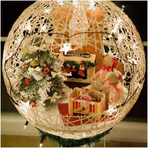 These yarn string balloon ball or basket are so fabulous arranged for Christmas decorations, they are either hanged, or sit on a base, with Christmas eleme