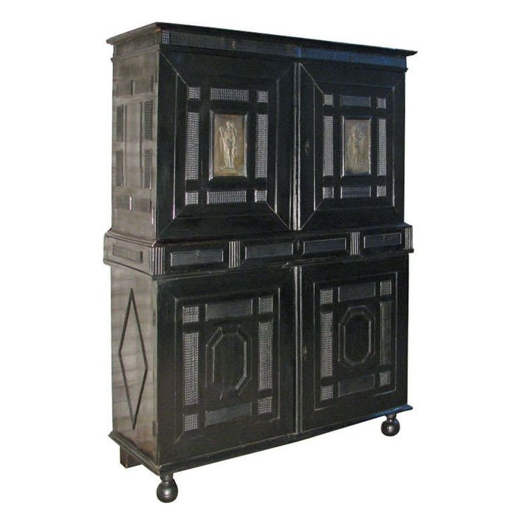 Ebonized Cabinet With Fitted Interior | From a unique collection of antique and modern cabinets at https://www.1stdibs.com/furniture/storage-case-pieces/cabinets/