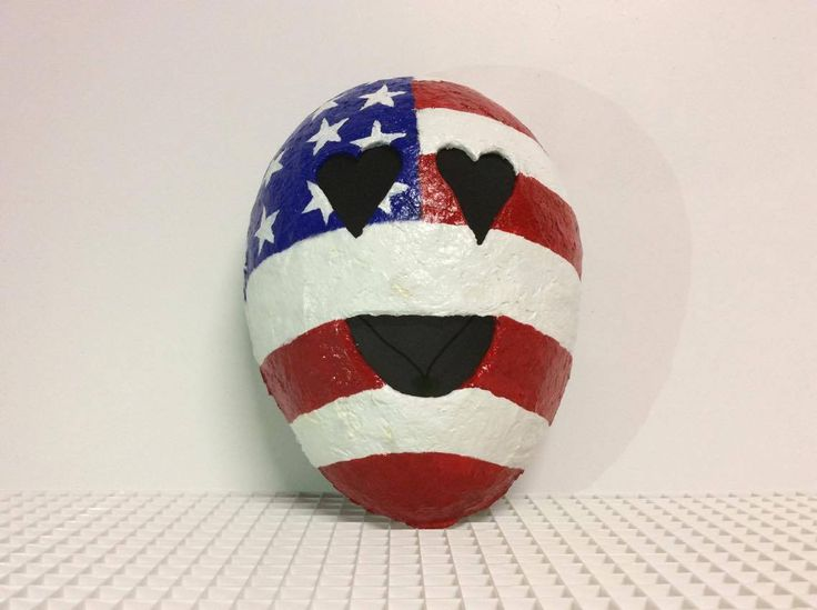 Paper Mache Emoji Mask and Wall Decoration American Flag 10/20  http://imgur.com/gHbCuAc  Art & Collectibles  Sculpture  Art Objects  mask  gift  paper mache  wall decoration  costume  Halloween Costume Accessories  papier mache mask  emoji  emoji mask  fun  Halloween Mask  paper mache mask