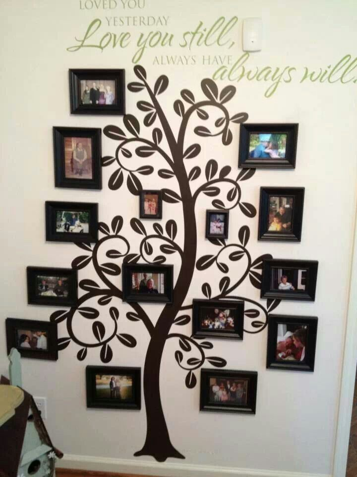 """Saying """"Love you then love you still always have always will"""" ideas: Family tree wall - would love to do this in my house"""