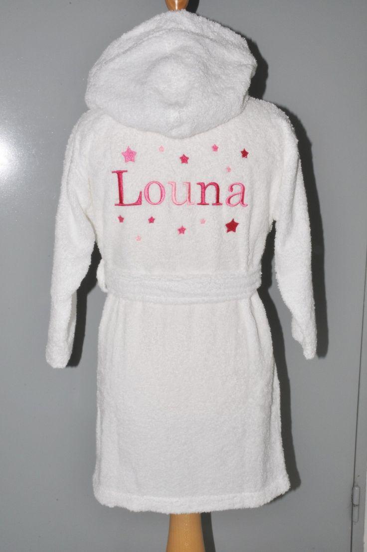 peignoir à capuche enfant étoiles personnalisé brodé : Mode filles par lbm-creation