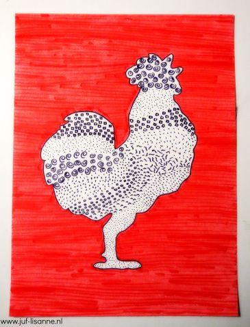 www.juf-lisanne.nl Tekenopdracht Pasen midden- en bovenbouw: een haan met patroontjes tekenen / middle school art assignment for kids: pattern rooster drawing craft