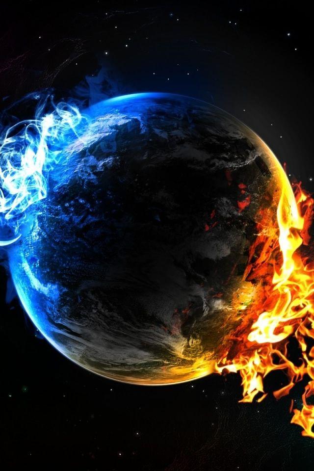 Water Fire Elements Iphone 4s Wallpapers Planets Wallpaper Wallpaper Earth Cool Desktop
