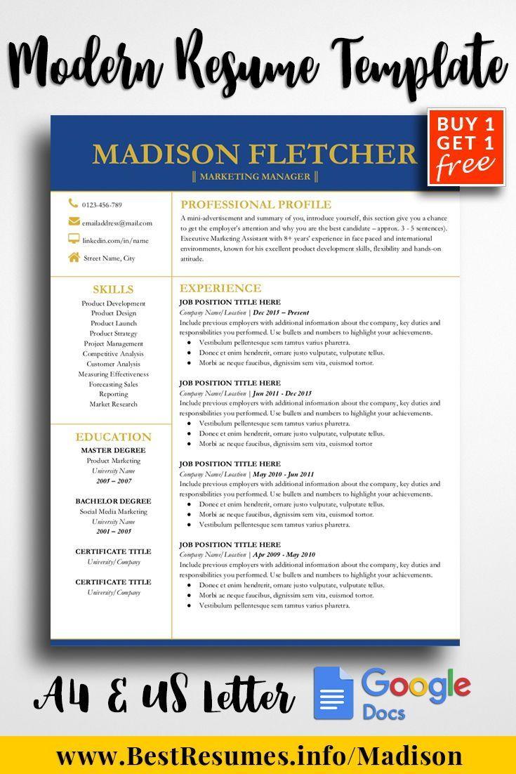 Elegant Resume Template Madison Fletcher One Page Resume