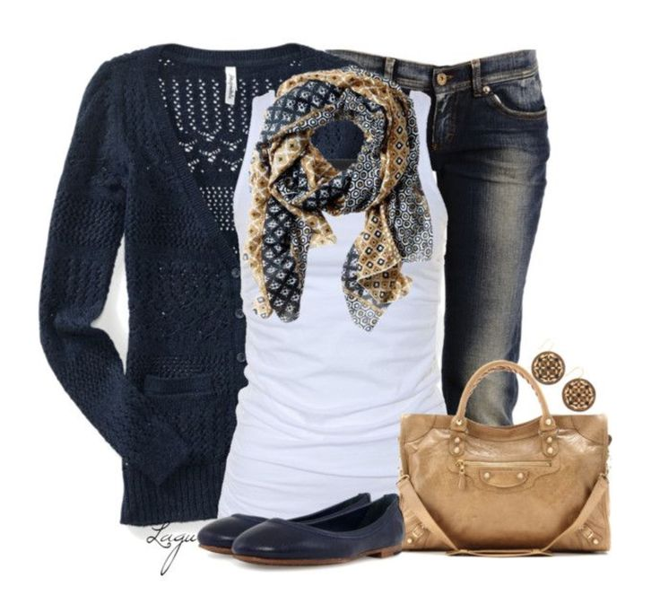 Perfect representation of my style....navy blazer/cardigan with white top and print scarf