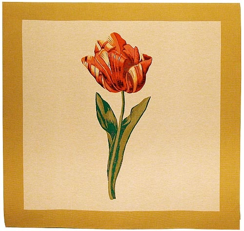 """Square tulip wall-hanging, tablecloth or throw woven in France from a design by Pierre-Joseph Redoute. 57""""x57""""."""