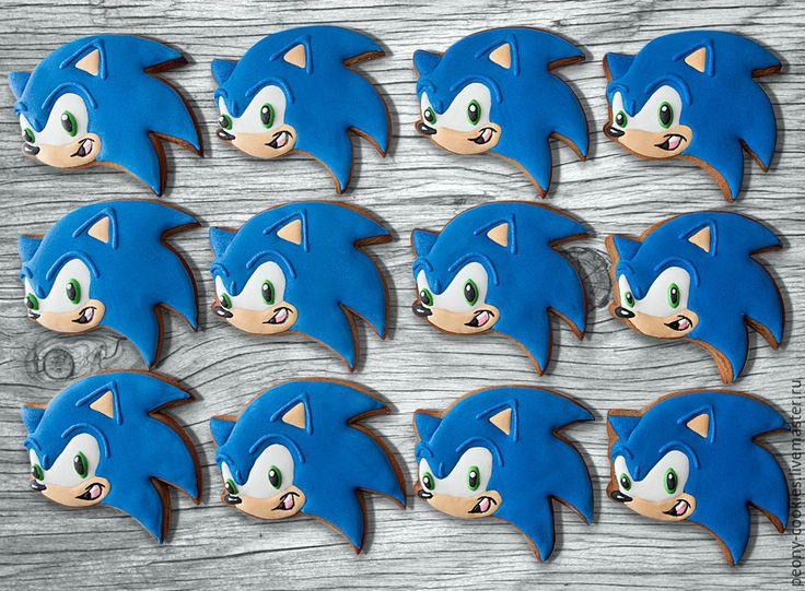 Купить Пряники персонажи мультфильма Соник бум - комбинированный, детский день рождения, сладкий стол, sonic, sonic hedgegog, sega, sonic cookies