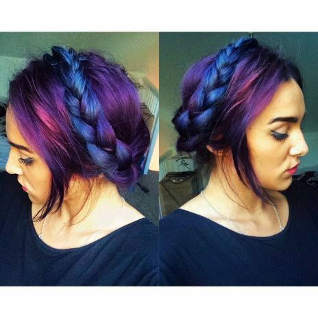 Seriously Awesome Electric Blue And Purple Two Tone Hair Massive
