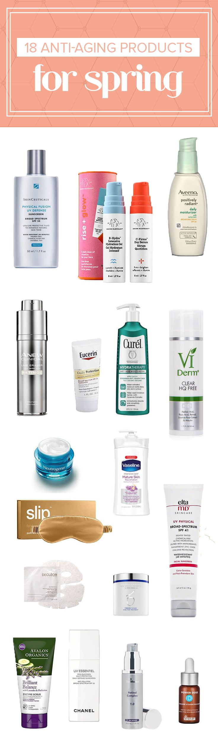 Try these anit-aging products that are available at your drugstore to improve your skin care routine. They are all dermatologist recommended.