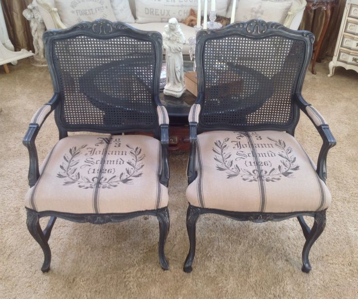 French Style Cane Chairs After Spray Painted With Flat