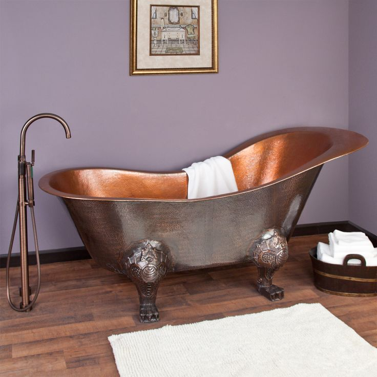 "73"" McQuire Hammered Copper Slipper Tub with Bright Copper Interior on Claw Feet"